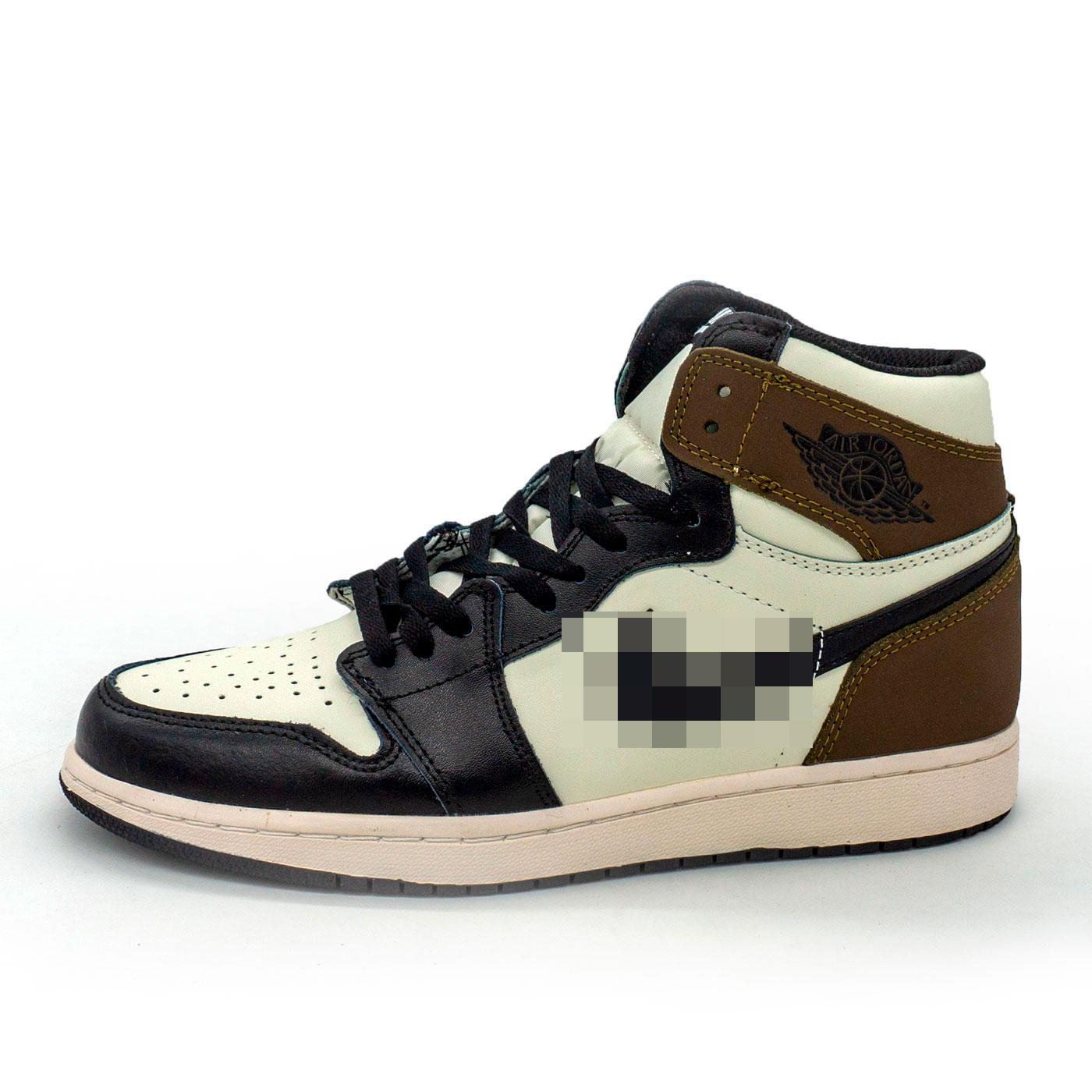фото main Высокие черно белые хаки кроссовки Nke Air Jordan 1 High. Топ качество! main