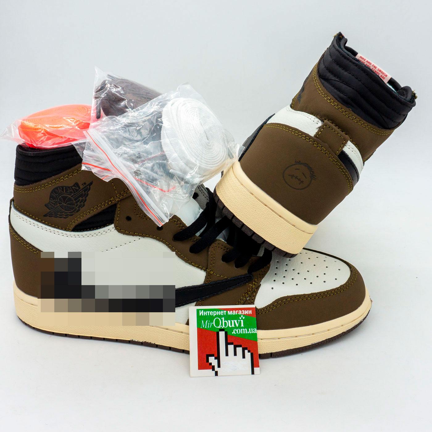 фото front Высокие кроссовки Nke Air Jordan 1 Jack Cactus хаки . Топ качество! front