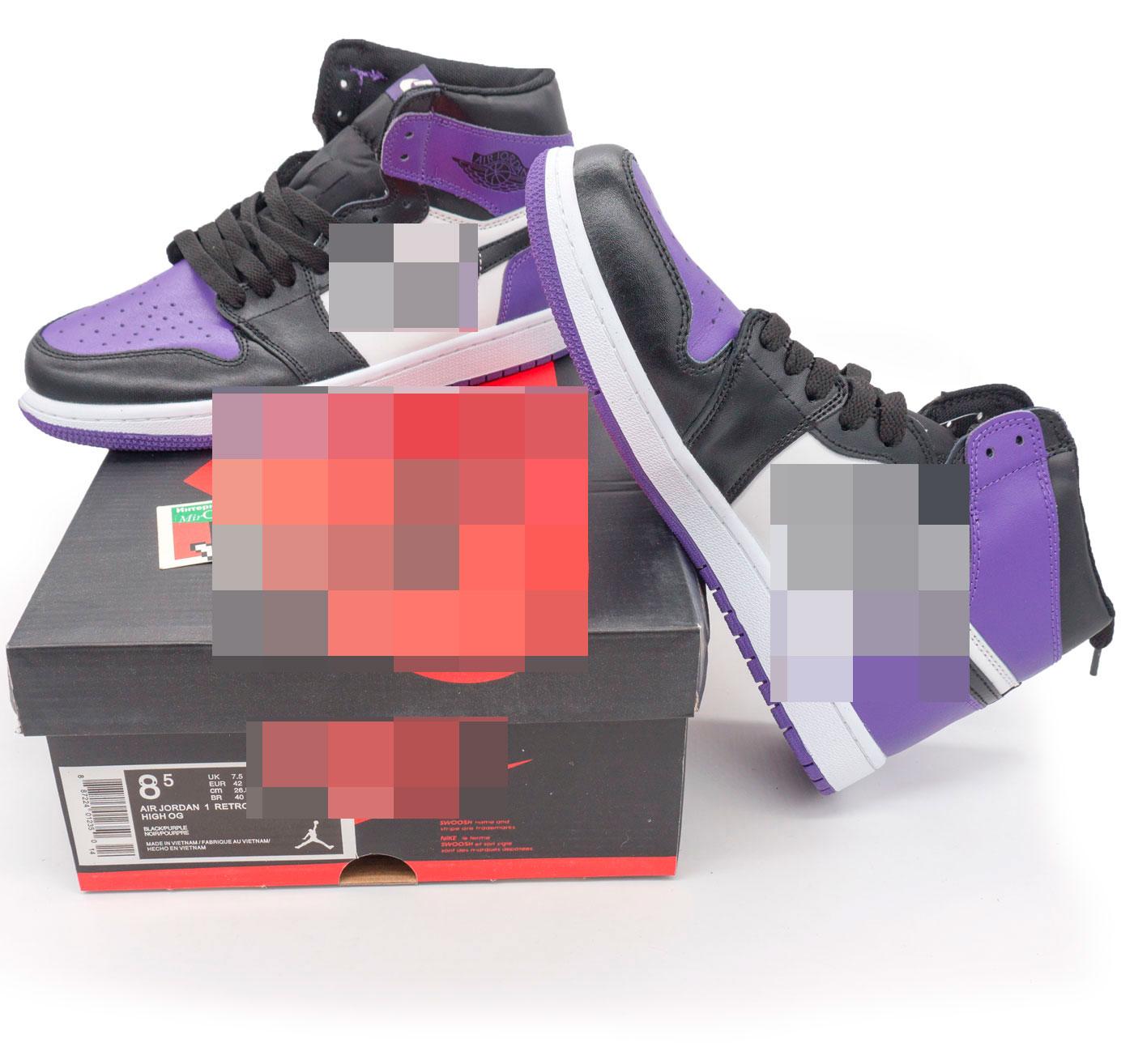 фото bottom Высокие черные c фиолетовым кроссовки Nke Air Jordan 1 . Топ качество! bottom