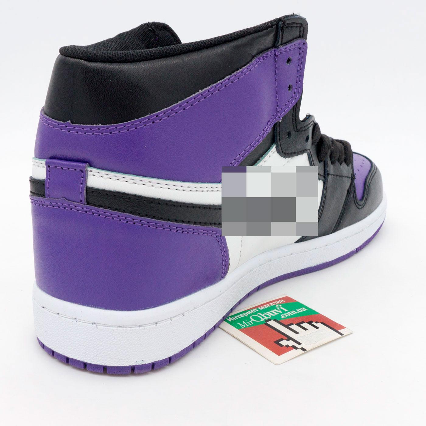 фото front Высокие черные c фиолетовым кроссовки Nke Air Jordan 1 . Топ качество! front