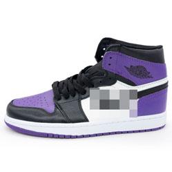 фото Высокие черные c фиолетовым кроссовки Nke Air Jordan 1 . Топ качество!