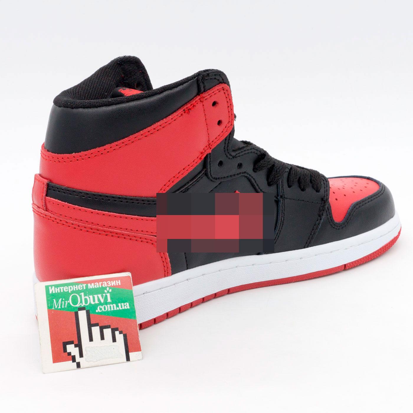 фото back Высокие черные c красным кроссовки Nke Air Jordan 1 . Топ качество! back