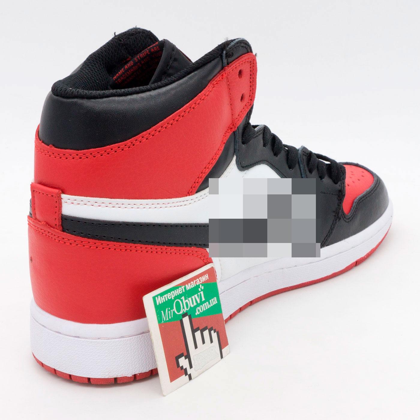 фото front Высокие белым и красным кроссовки Nke Air Jordan 1. Топ качество! front