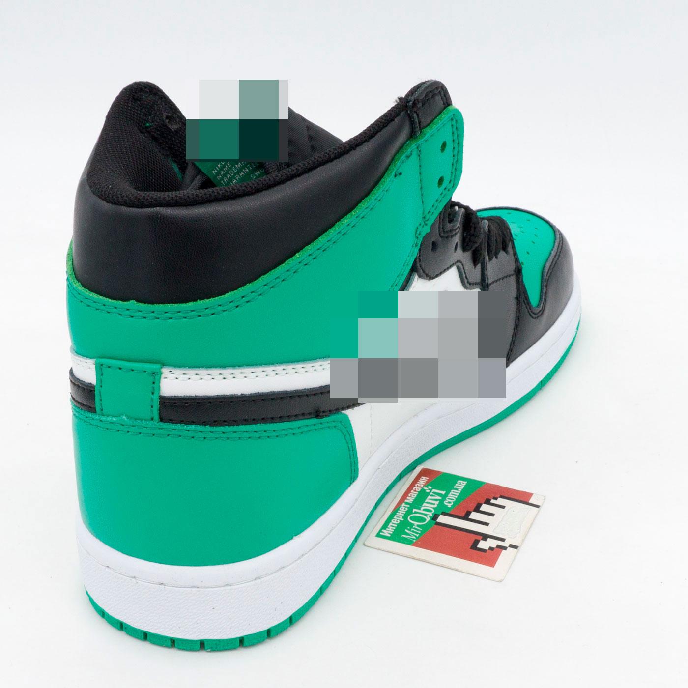фото back Высокие черные c зеленым кроссовки Nke Air Jordan 1 . Топ качество! back