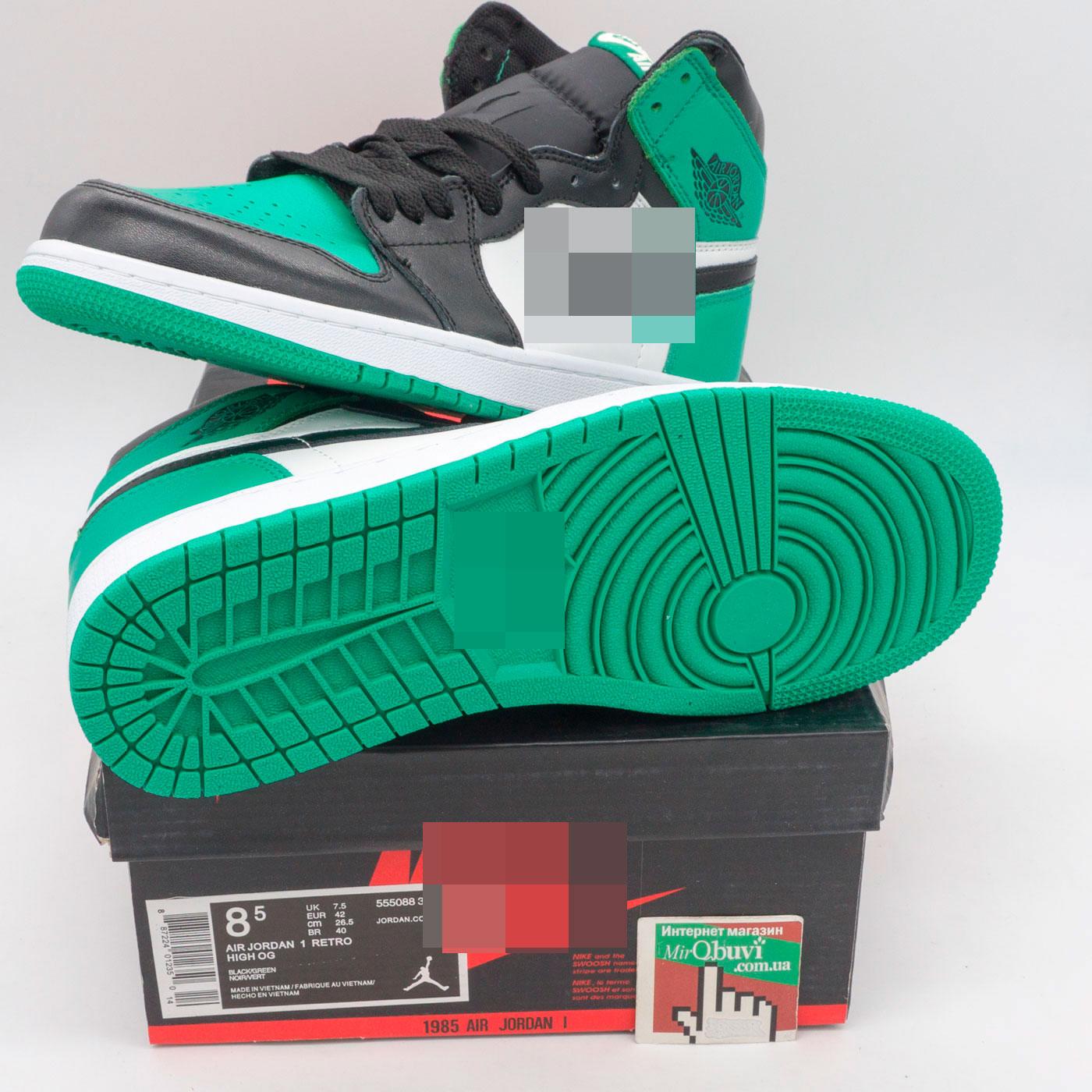 фото front Высокие черные c зеленым кроссовки Nke Air Jordan 1 . Топ качество! front