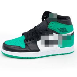 фото Высокие черные c зеленым кроссовки Nke Air Jordan 1 . Топ качество!
