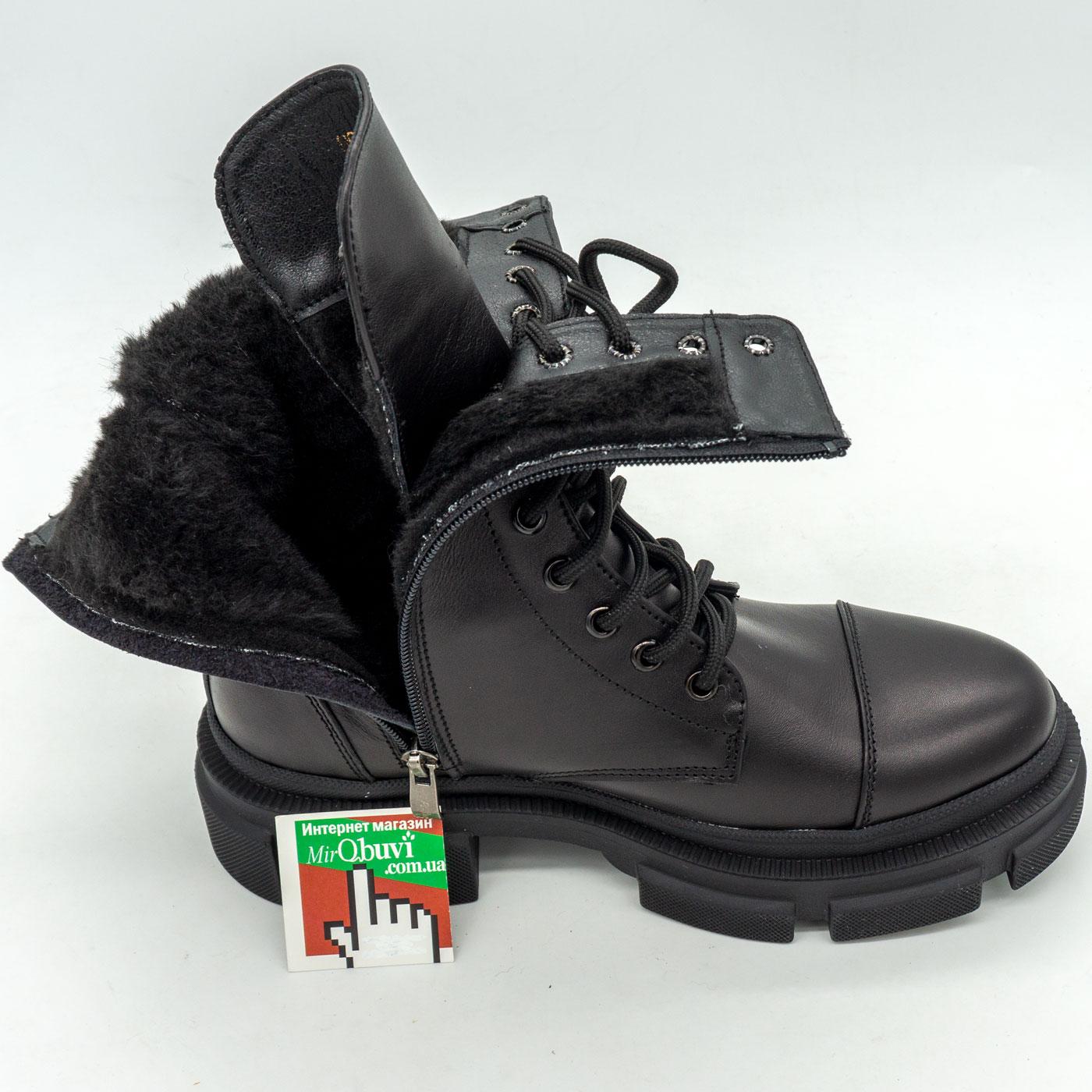 фото back Зимние черные женские ботинки в Dr. Martens на платформе - 0021 back