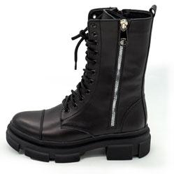 фото Зимние черные женские ботинки в Dr. Martens на платформе - 0021