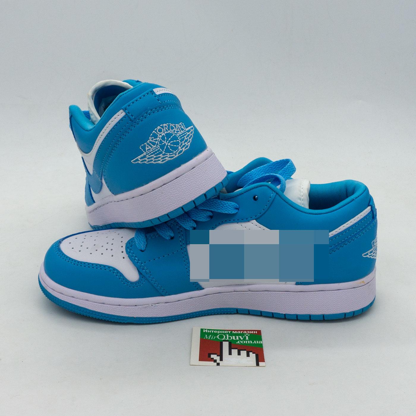 фото front Низкие бело голубые кроссовки Nke Air Jordan 1 front