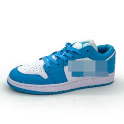 фото Низкие бело голубые кроссовки Nke Air Jordan 1