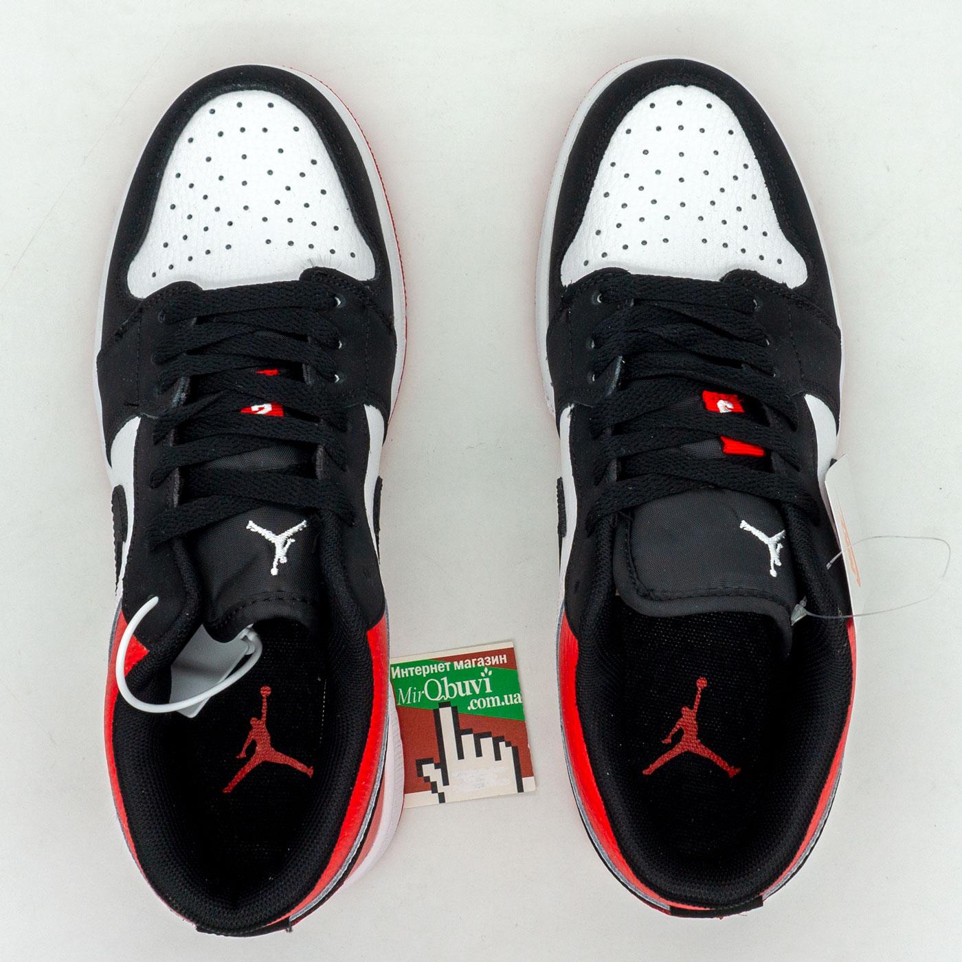 фото front Низкие черные c красным кроссовки Nke Air Jordan 1 front
