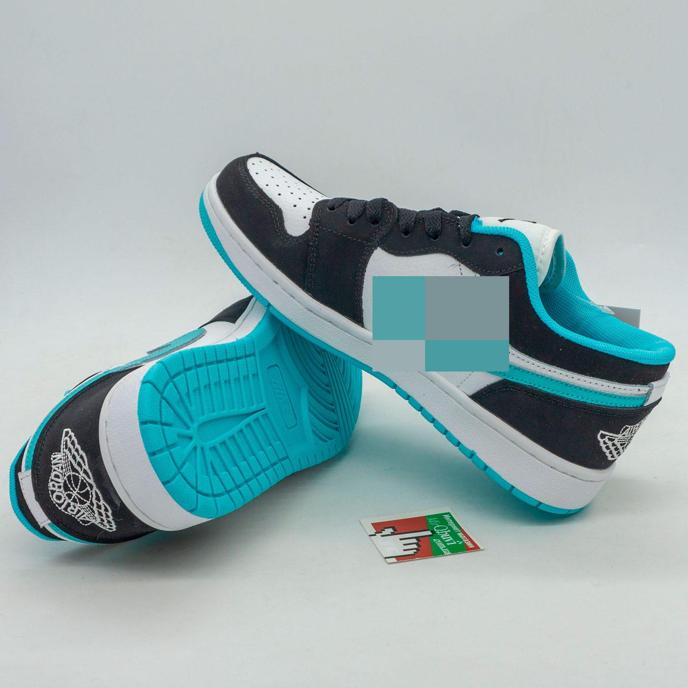 фото back Низкие черные c бирюзовым кроссовки Nke Air Jordan 1 back