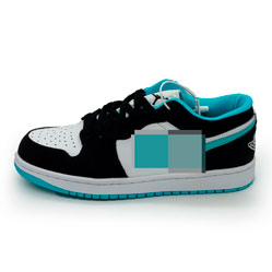 фото Низкие черные c бирюзовым кроссовки Nke Air Jordan 1