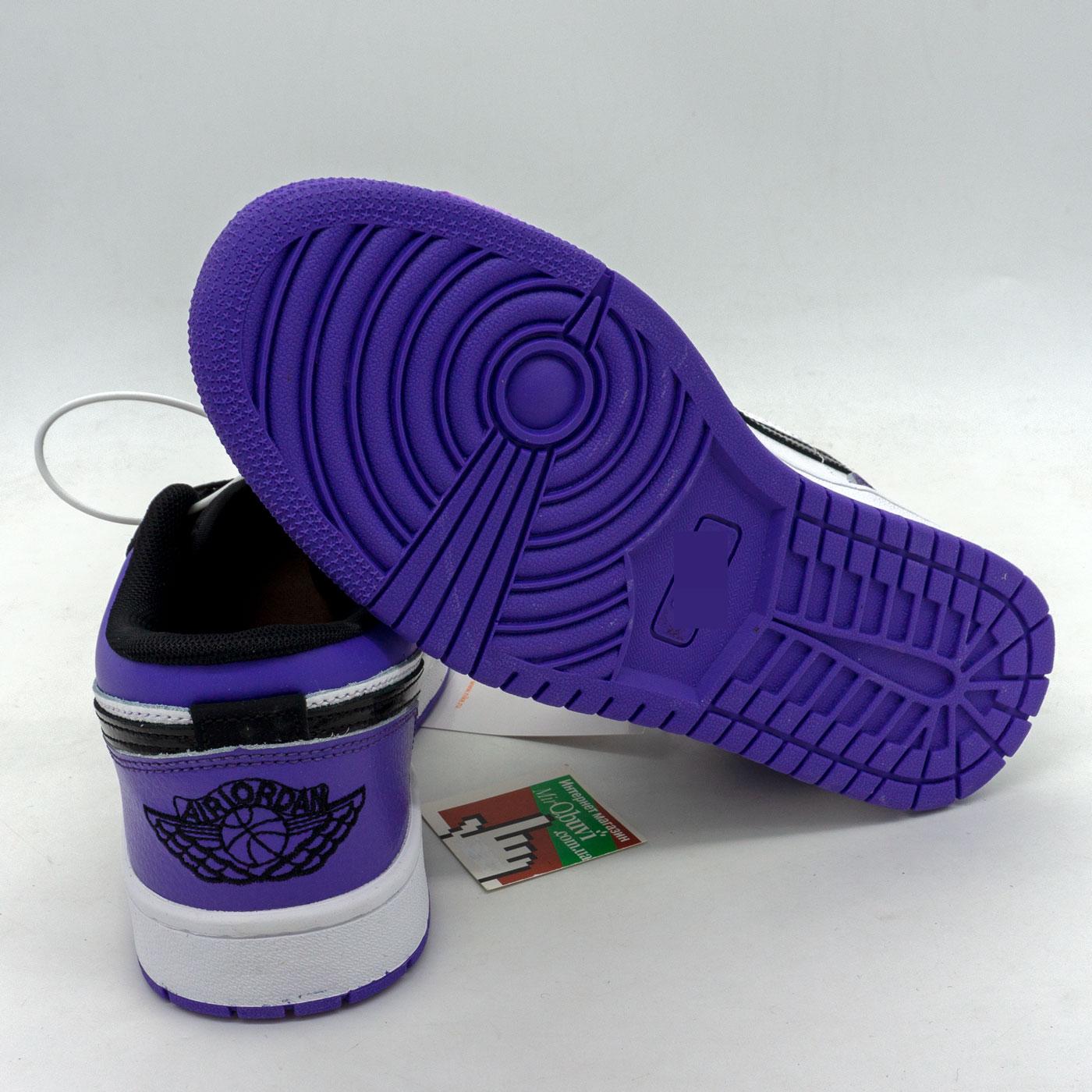 фото back Низкие черные c фиолетовым кроссовки Nke Air Jordan 1 back