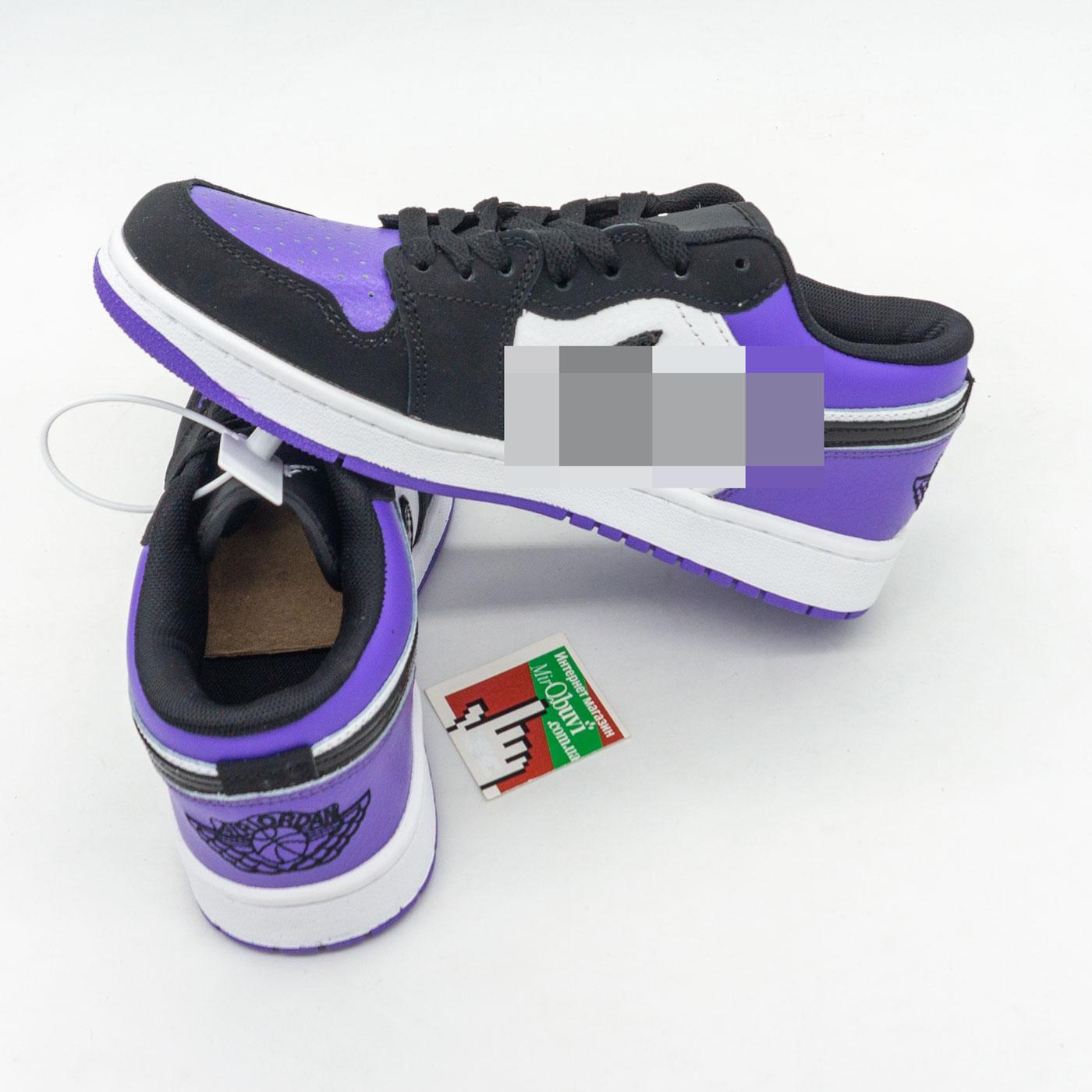 фото bottom Низкие черные c фиолетовым кроссовки Nke Air Jordan 1 bottom