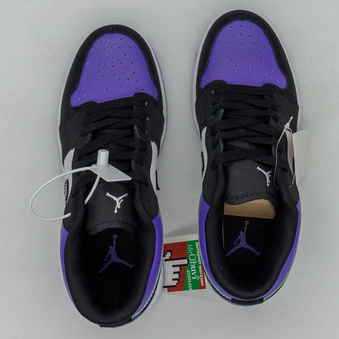 фото front Низкие черные c фиолетовым кроссовки Nke Air Jordan 1 front