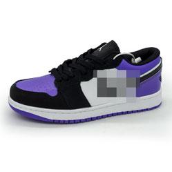 фото Низкие черные c фиолетовым кроссовки Nke Air Jordan 1