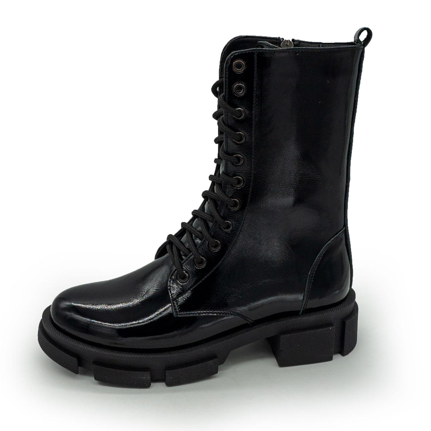 фото main Зимние черные лаковые женские ботинки в Dr. Martens на платформе - 0022 main