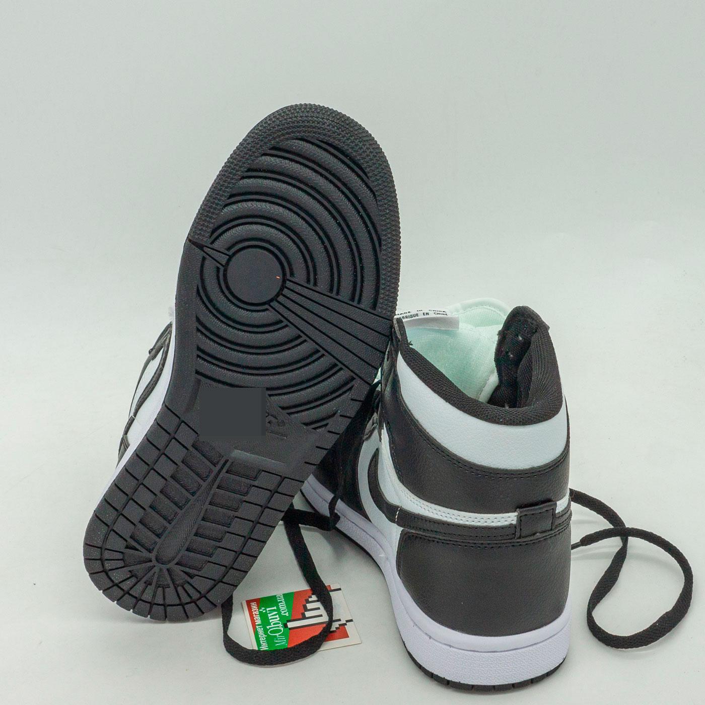 фото bottom Высокие черно белые кроссовки Nke Air Jordan 1 bottom