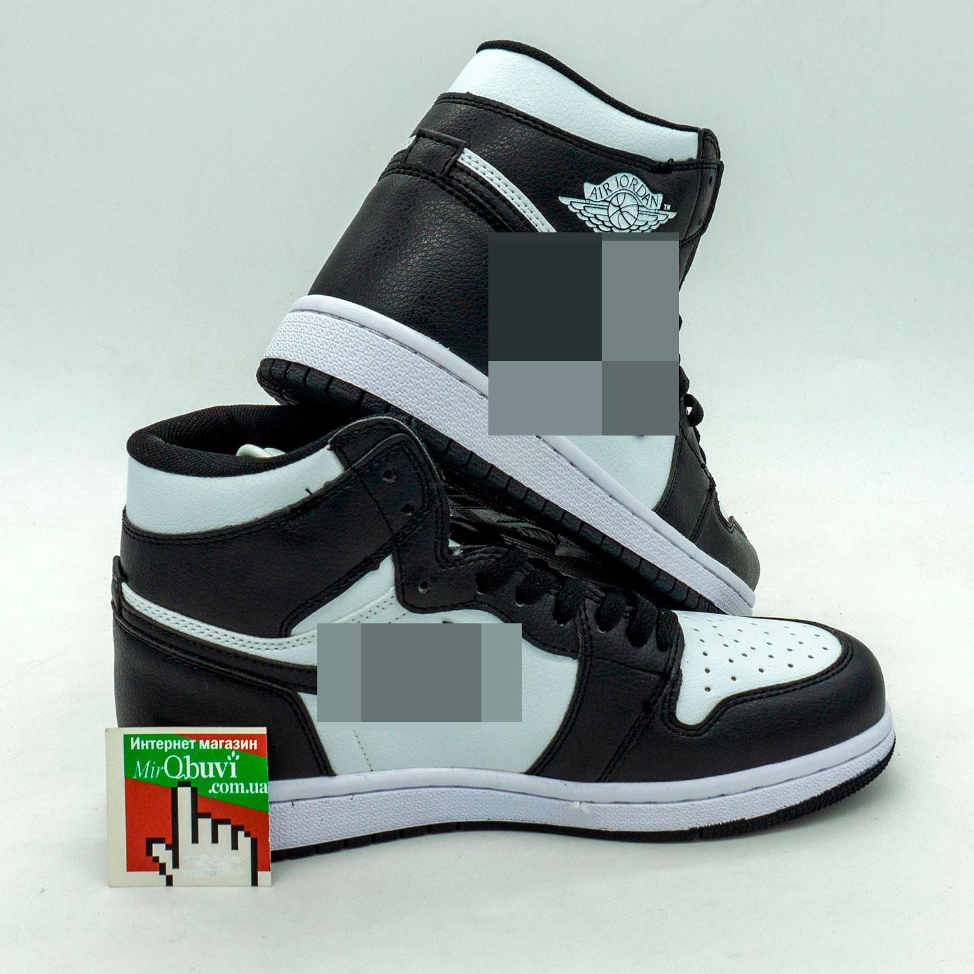 фото front Высокие черно белые кроссовки Nke Air Jordan 1 front