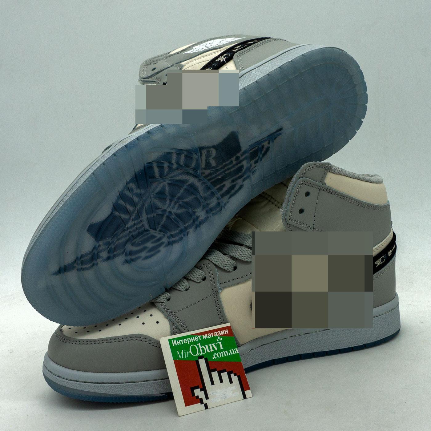 фото front Высокие серые кроссовки Nke Air Jordan 1 Dior front