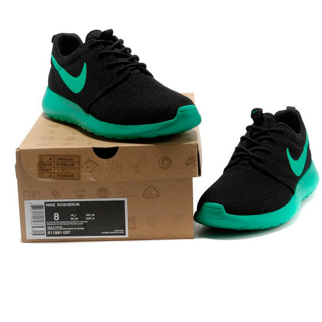 фото front Nike Roshe Run черн берюзовые front