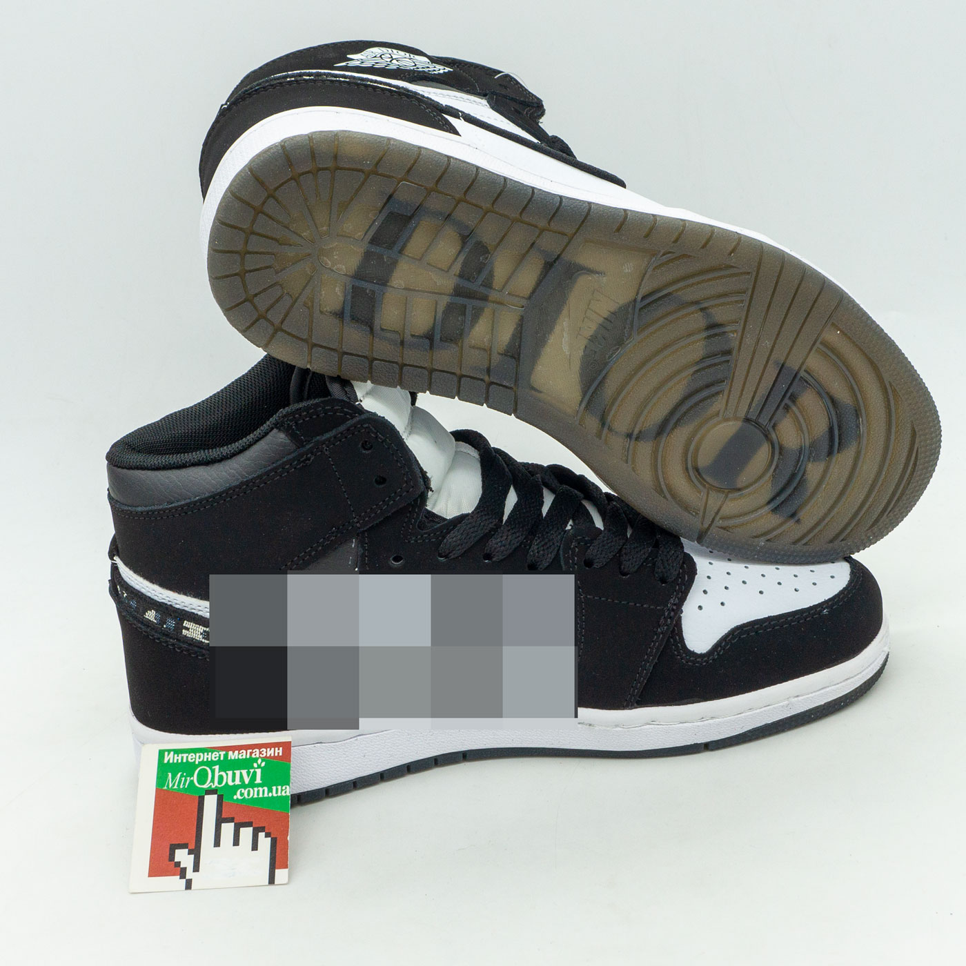 фото back Высокие черно белые кроссовки Nke Air Jordan 1 Dior back