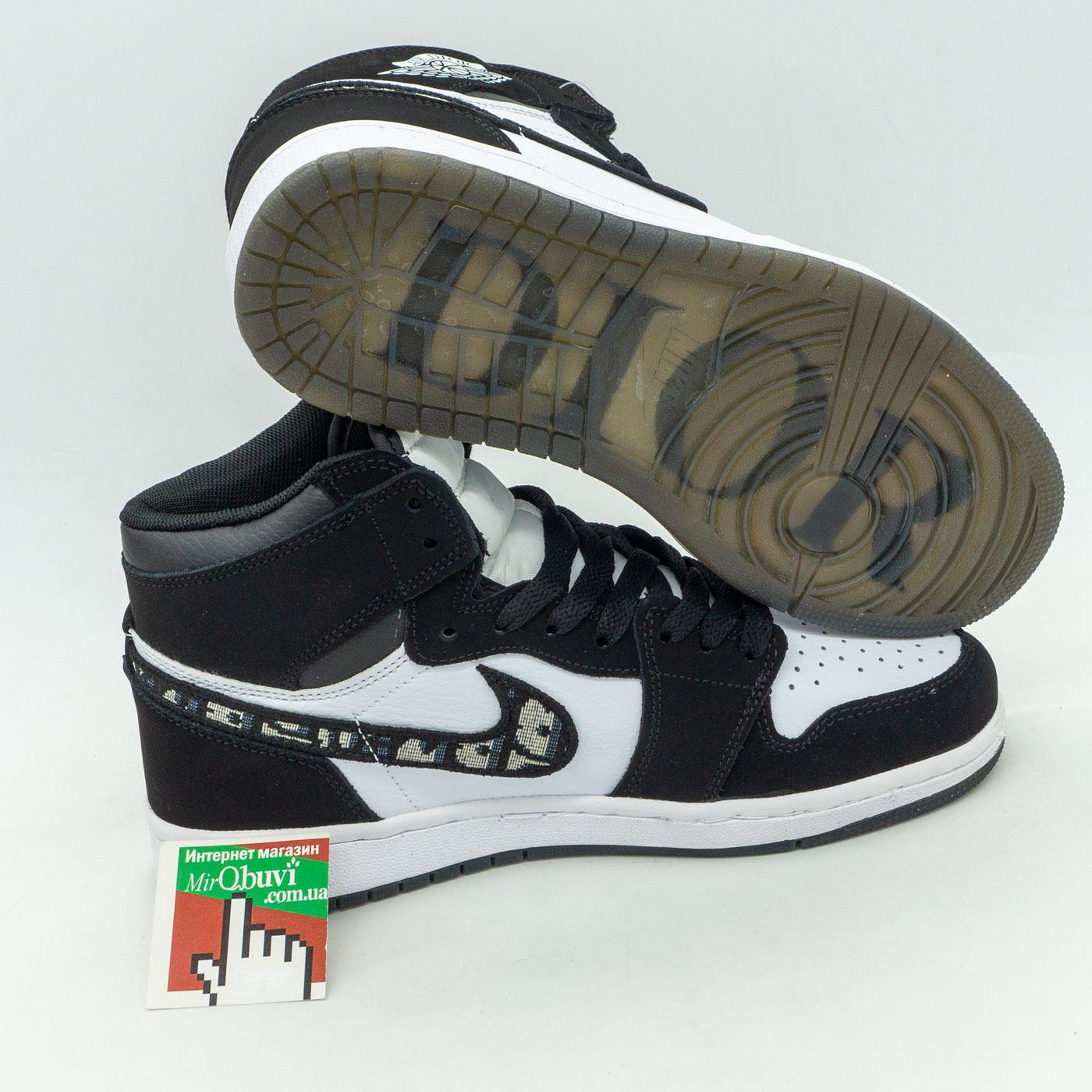 фото front Высокие черно белые кроссовки Nke Air Jordan 1 Dior front
