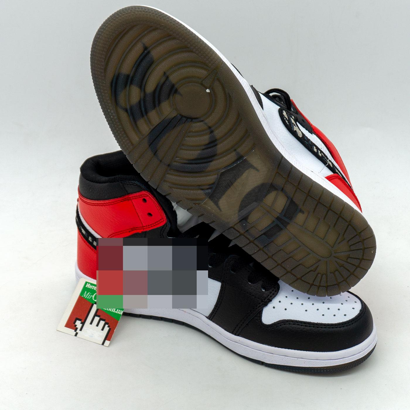фото front Высокие черно белое красные кроссовки Nke Air Jordan 1 Dior front