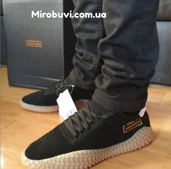 фото - Кожаные кроссовки Adidas Kamanda черные. Топ качество! на ноге.