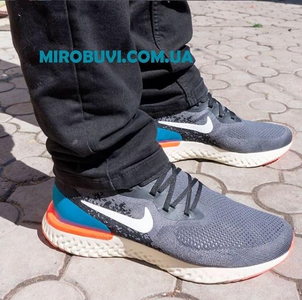 фото - Мужские кроссовки для бега Nike Epic React Flyknit пепел. Топ качество! на ноге.