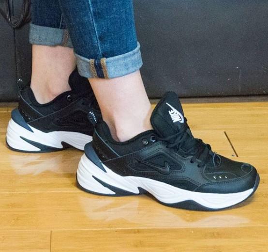 фото - Кроссовки Nike M2K Tekno черно-белые. Топ качество! на ноге.