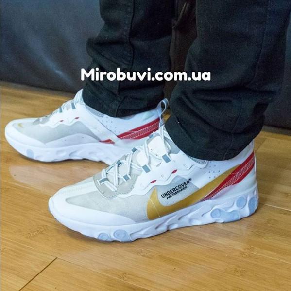 фото - Кроссовки Nike React 87 Undercover белые с красным. Топ качество! на ноге.
